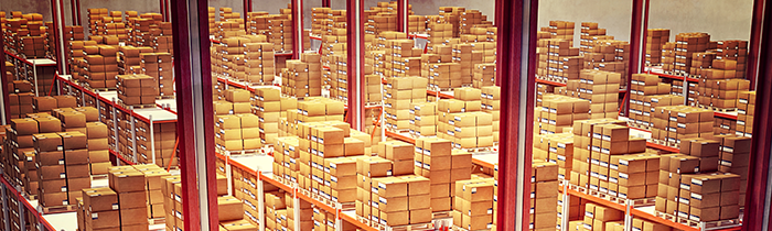 Room full of stacked packages.
