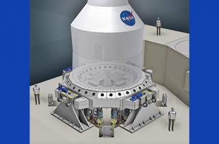 3D diagram of NASA's Orion spacecraft undergoing vibration testing.